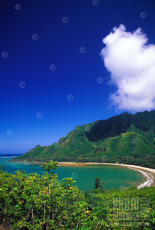 Kahana valley state park on the north shore with a view from kapaeleele loop trail