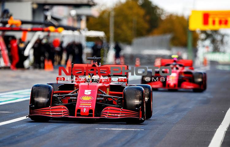 10.10.2020, Nürburgring, Nürburg, Formula 1 Aramco Grosser Preis der Eifel 2020<br /> , im Bild<br />Sebastian Vettel (GER#5), Scuderia Ferrari, Charles Leclerc (MCO#16), Scuderia Ferrari<br /> <br /> Foto © nordphoto / Bratic
