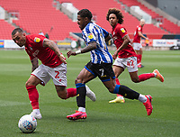 Bristol City's Jack Hunt (left) battles for possession with  Sheffield Wednesday's Kadeem Harris (right) <br /> <br /> Photographer David Horton/CameraSport<br /> <br /> The EFL Sky Bet Championship - Bristol City v Sheffield Wednesday - Sunday 28th June 2020 - Ashton Gate Stadium - Bristol <br /> <br /> World Copyright © 2020 CameraSport. All rights reserved. 43 Linden Ave. Countesthorpe. Leicester. England. LE8 5PG - Tel: +44 (0) 116 277 4147 - admin@camerasport.com - www.camerasport.com