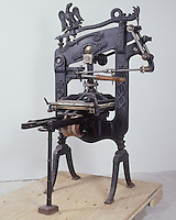 Antique iron hand press - Columbian Press, London, 1876. When possible, please credit - Photo by Bill Parsons Collection of John C. Horn Mira.. John C. Horn Collection of Antique Printing Presses. Arkansas.