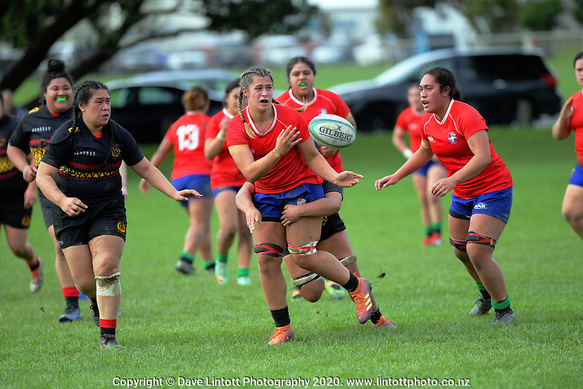 Action from the women's rugby union match between Poneke and Petone at Kilbirnie Park in Wellington, New Zealand on Saturday, 27 June 2020. Photo: Dave Lintott / lintottphoto.co.nz