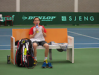 Rotterdam, The Netherlands, 15.03.2014. NOJK 14 and 18 years ,National Indoor Juniors Championships of 2014, Sander Jong (NED) at changeover<br /> Photo:Tennisimages/Henk Koster