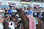 June 7, 2014: #5 Sweet Reason, Irad Ortiz Jr. up, wins the 84th running of the Grade I Acorn, one mile three year old fillies at Belmont Park , Elmont, NY Trainer is L. Gyarmati.  ©Joan Fairman Kanes/ESW/CSM