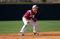 Winthrop Eagles shortstop Kyle Edwards (6) on defense against the Kennesaw State Owls at the Winthrop Ballpark on March 15, 2015 in Rock Hill, South Carolina.  The Eagles defeated the Owls 11-4.  (Brian Westerholt/Four Seam Images)