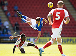 St Johnstone v Fleetwood Town…24.07.21  McDiarmid Park<br />Craig Bryson is sent flying by Jay Matete<br />Picture by Graeme Hart.<br />Copyright Perthshire Picture Agency<br />Tel: 01738 623350  Mobile: 07990 594431
