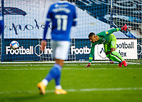 31st October 2020; The Kiyan Prince Foundation Stadium, London, England; English Football League Championship Football, Queen Park Rangers versus Cardiff City; Goalkeeper of QPR lets the ball go wide of his post