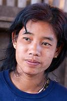 Myanmar, Burma.  Burmese Woman, Intha Ethnic Group, Inle Lake, Shan State.