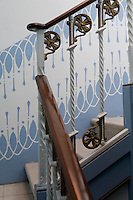 Inside Casa Blaua, one of the last Modernista or art nouveau buildings in Catalunya inspired by the works of Gaudi. A detail of an original staircase within the house.
