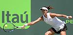 March 27 2017: Garbine Muguruza (ESP) loses to Caroline Wozniacki (DEN) 7-6, 0-0 retired, at the Miami Open being played at Crandon Park Tennis Center in Miami, Key Biscayne, Florida. ©Karla Kinne/Tennisclix/Cal Sports Media