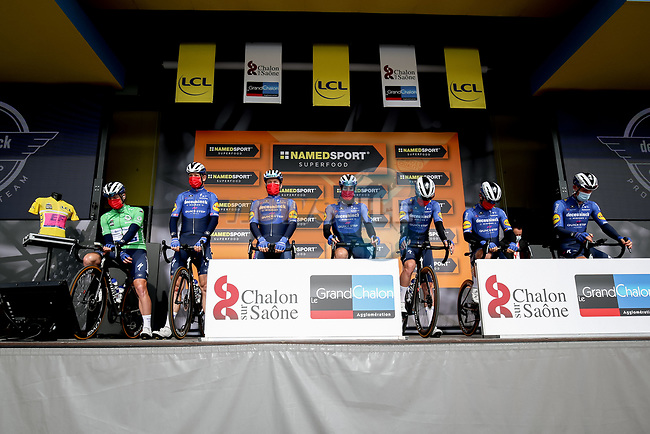 Deceuninck-Quick Step at sign on before Stage 4 of Paris-Nice 2021, running 187.5km from Chalon-sur-Saone to Chiroubles, France. 10th March 2021.<br /> Picture: ASO/Fabien Boukla | Cyclefile<br /> <br /> All photos usage must carry mandatory copyright credit (© Cyclefile | ASO/Fabien Boukla)