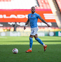 31st October 2020; Bramall Lane, Sheffield, Yorkshire, England; English Premier League Football, Sheffield United versus Manchester City; Kyle Walker of Manchester City with the ball looking for a pass forward