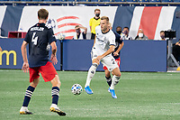FOXBOROUGH, UNITED STATES - AUGUST 20: Kacper Przybylko #23 of Philadelphia Union passes the ball to the midfield during a game between Philadelphia Union and New England Revolution at Gilette on August 20, 2020 in Foxborough, Massachusetts.