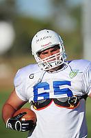 Sept. 16, 2009; Casa Grande, AZ, USA; California Redwoods center Mike Mabry during training camp at the Casa Grande Training Facility & Performance Institute. Mandatory Credit: Mark J. Rebilas-