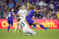 Orlando, FL - Saturday March 24, 2018: Utah Royals Gunnhildur Jonsdottir (23) knocks down Orlando Pride midfielder Dani Weatherholt (17) during a regular season National Women's Soccer League (NWSL) match between the Orlando Pride and the Utah Royals FC at Orlando City Stadium. The game ended in a 1-1 draw.