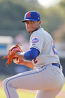 Kingsport Mets pitcher Matt Cleveland (22) warming up in the bullpen before a game against the Burlington Royals at Burlington Athletic Complex on July 28, 2018 in Burlington, North Carolina. Burlington defeated Kingsport 4-3. (Robert Gurganus/Four Seam Images)