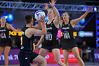 Sam Winders marks NZ Men wing attack Nick Grimmer during the Cadbury Netball Series match between NZ Silver Ferns and NZ Men at the Fly Palmy Arena in Palmerston North, New Zealand on Thursday, 22 October 2020. Photo: Dave Lintott / lintottphoto.co.nz