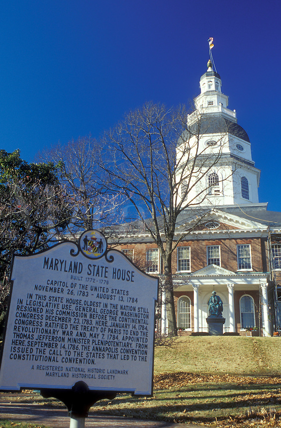 State House, Maryland, State Capitol, Annapolis, MD, The Maryland State House in the capital city of Annapolis.