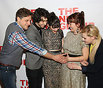 """Joe Tippett, Alex Wolff, Isabelle Fuhrman, Erica Schmidt and Abigail Breslin attend the Opening Night of The New Group World Premiere of """"All The Fine Boys"""" at the The Green Fig Urban Eatery on March 1, 2017 in New York City."""