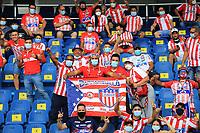 BARRANQUILLA - COLOMBIA, 25-07-2021: Hinchas del Atletico Junior.Atlético Junior  y Envigado en partido por la fecha 2 como parte de la Liga BetPlay DIMAYOR II 2021 jugado en el estadio Metropolitano Roberto Meléndez de la ciudad de Barranquilla. / Fans of Atletico Junior.Atletico Junior and Envigado in match for the date 2 as part of the BetPlay DIMAYOR League II 2021 played at Metropolitano Roberto Melendez stadium in Barranquilla city. Photo: VizzorImage / Jairo Casiani / Contribuidor
