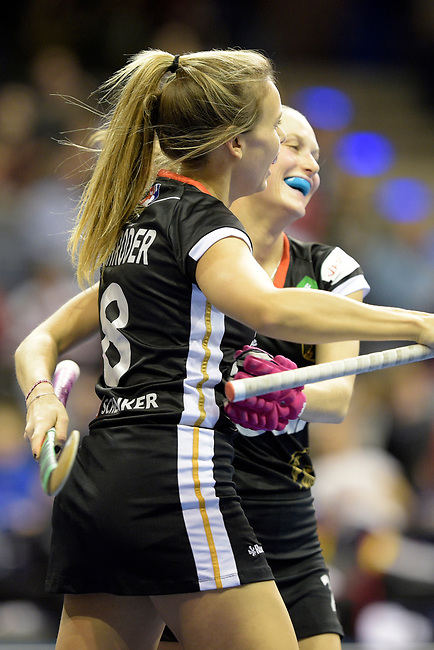 Berlin, Germany, February 09: During the FIH Indoor Hockey World Cup Pool B group match between Germany (black) and Australia (yellow) on February 9, 2018 at Max-Schmeling-Halle in Berlin, Germany. Final score 2-2. (Photo by Dirk Markgraf / www.265-images.com) *** Local caption *** Anne SCHROEDER #8 of Germany, Cecile PIEPER #22 of Germany