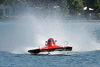 "13-14 June, 2009, APBA Inboards, Walled Lake, Novi, MI. USA.Kevin Joslyn, E-500 ""Cents Less 14"", 5 Litre hydroplane.©F. Peirce Williams 2009 USA.F.Peirce Williams.photography.ref: RAW (.NEF) File Available"