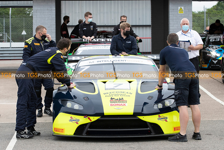 Scrutineering and noise testing pre race sessions during the British GT & F3 Championship on 10th July 2021