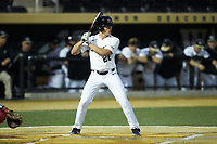 Chase Mascolo (28) of the Wake Forest Demon Deacons at bat against the Sacred Heart Pioneers at David F. Couch Ballpark on February 15, 2019 in  Winston-Salem, North Carolina.  The Demon Deacons defeated the Pioneers 14-1. (Brian Westerholt/Four Seam Images)