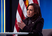 United States Vice President Kamala Harris meets with women leaders in Congress and advocacy organizations on the American Rescue Plan, during a virtual roundtable on the American Rescue Plan, at the Eisenhower Executive Office Building in Washington, DC on Thursday, February 18, 2021. The Rescue Plan includes direct payments to those in need, money to help reopen schools and extended unemployment benefits.<br /> CAP/MPI/RS<br /> ©RS/MPI/Capital Pictures