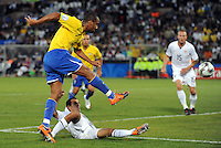Maicon of Brazil scores his side's third goal. Brazil defeated USA 3-0 during the FIFA Confederations Cup at Loftus Versfeld Stadium in Tshwane/Pretoria, South Africa on June 18, 2009.