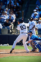 New York Yankees shortstop Diego Castillo (83) at bat during a Grapefruit League Spring Training game against the Toronto Blue Jays on February 25, 2019 at George M. Steinbrenner Field in Tampa, Florida.  Yankees defeated the Blue Jays 3-0.  (Mike Janes/Four Seam Images)