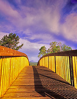 F00142M.tiff Footbridge at Sunriver Resort with Mt. Bachelor in bacground. Oregon Cascade Mountains.