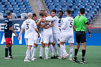 FOXBOROUGH, MA - JULY 4: Marios Lomis #9 of Greenville Triumph SC celebrates his second goal during a game between Greenville Triumph SC and New England Revolution II at Gillette Stadium on July 4, 2021 in Foxborough, Massachusetts.