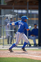 Toronto Blue Jays right fielder Antony Fuentes (4) follows through on a swing during a minor league Spring Training game against the New York Yankees on March 30, 2017 at the Englebert Complex in Dunedin, Florida.  (Mike Janes/Four Seam Images)