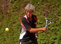 Netherlands, Amstelveen, August 22, 2015, Tennis,  National Veteran Championships, NVK, TV de Kegel,  Men's 70+, Piet Bovenhof<br /> Photo: Tennisimages/Henk Koster