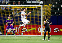 CARSON, CA - SEPTEMBER 06: Daniel Steres #5 of Los Angeles Galaxy heads a ball during a game between Los Angeles FC and Los Angeles Galaxy at Dignity Health Sports Park on September 06, 2020 in Carson, California.