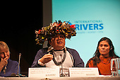 London, England. Chief Almir Surui speaking with Ruth Mestoquiari during a visit of Sheyla Yakarepi Juruna, Chief Almir Narayamoga Surui and Ruth Buendia Mestoquiari Ashaninka to London to highlight the impact of hydroelectric dams proposed for the rivers of the Amazon basin,