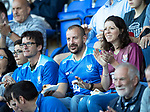 St Johnstone v Falkirk…24.07.18…  McDiarmid Park    Betfred Cup<br />Saints fans wearing the new 2018-19 home and away kit<br />Picture by Graeme Hart. <br />Copyright Perthshire Picture Agency<br />Tel: 01738 623350  Mobile: 07990 594431
