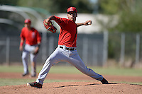 Los Angeles Angels pitcher Ricardo Sanchez (32) during an Instructional League game against the Milwaukee Brewers on October 11, 2013 at Tempe Diablo Stadium Complex in Tempe, Arizona.  (Mike Janes/Four Seam Images)