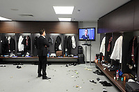 Pictured:  Michael Laudrup in the changing room. Sunday 24 February 2013<br /> Re: Capital One Cup football final, Swansea v Bradford at the Wembley Stadium in London.