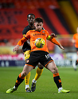 2nd October 2020; Tannadice Park, Dundee, Scotland; Scottish Premiership Football, Dundee United versus Livingston; Calum Butcher of Dundee United challenges for the ball with Marvin Bartley of Livingston
