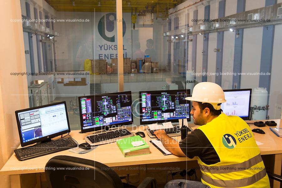 TURKEY, Mengen, Köprübaşı HEPP, hydro power station of Yueksel Holding / TUERKEI, Mengen, Köprübaşı HEPP, Wasserkraftwerk der Yueksel Holdung, Leitzentrale Turbinenhaus