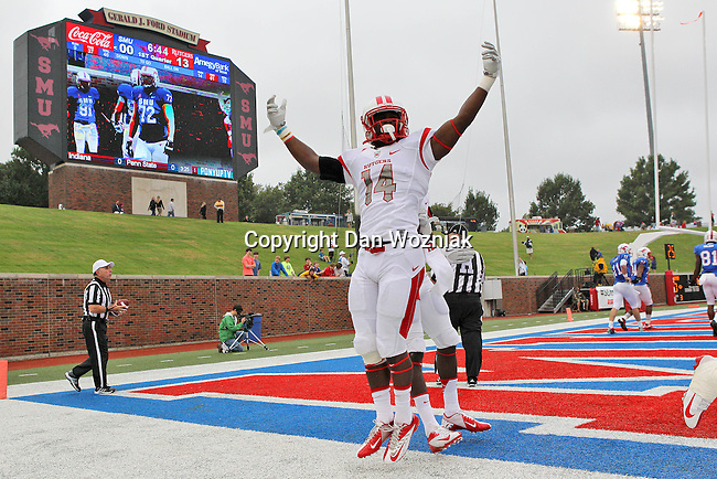 Rutgers Scarlet Knights wide receiver Miles Shuler (14) in action during the game between the Rutgers Scarlet Knights and the SMU Mustangs at the Gerald J. Ford Stadium in Dallas, Texas.  Rutgers leads SMU 21 to 7 at halftime.
