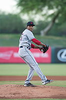 AZL Indians 2 starting pitcher Daritzon Feliz (55) delivers a pitch during an Arizona League game against the AZL Angels at Tempe Diablo Stadium on June 30, 2018 in Tempe, Arizona. The AZL Indians 2 defeated the AZL Angels by a score of 13-8. (Zachary Lucy/Four Seam Images)