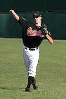 August 19, 2005:  Pitcher Brandon Erbe of the Bluefield Orioles during a game at Bowen Field in Bluefield, WV.  Bluefield is the Appalachian League Class-A affiliate of the Baltimore Orioles.  Photo by:  Mike Janes/Four Seam Images