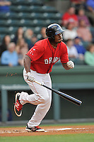 First baseman Josh Ockimey (18) of the Greenville Drive bats in a game against the Columbia Fireflies on Friday, April 22, 2016, at Fluor Field at the West End in Greenville, South Carolina. Columbia won, 5-3. (Tom Priddy/Four Seam Images)