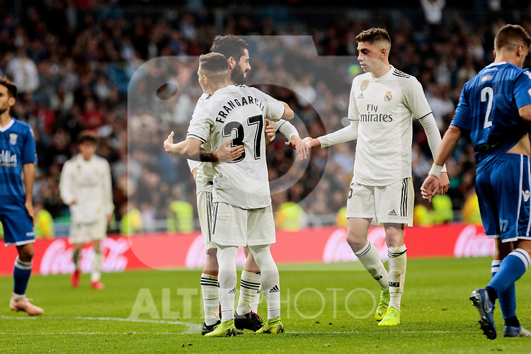 Real Madrid's Francisco Alarcon 'Isco' (L) and Fran Garcia (R) celebrate goal during Copa del Rey match between Real Madrid and UD Melilla at Santiago Bernabeu Stadium in Madrid, Spain. December 06, 2018. (ALTERPHOTOS/A. Perez Meca)