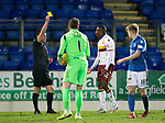 St Johnstone v Motherwell…..12.02.20   McDiarmid Park   SPFL<br />Christy Manzanga is shown a second yellow card for diving by referee Nick Walsh and is sent off<br />Picture by Graeme Hart.<br />Copyright Perthshire Picture Agency<br />Tel: 01738 623350  Mobile: 07990 594431