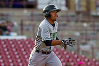 Clinton LumberKings infielder Rayder Ascanio (13) runs to first during a Midwest League game against the Wisconsin Timber Rattlers on May 9th, 2016 at Fox Cities Stadium in Appleton, Wisconsin.  Clinton defeated Wisconsin 6-3. (Brad Krause/Four Seam Images)
