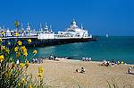 United Kingdom, England, East Sussex, Eastbourne: Pleasure pier and pebble beach