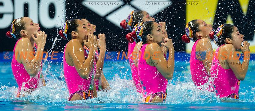 MEX - Mexico<br /> ACHACH RAMIREZ Karem Faride ALONSO GARCIA Teresa Ixchel<br /> ARREOLA DELGADILLO Karla Paola DIOSDADO GARCIA Nuria Lidon<br /> GUAJARDO LOZANO Evelyn JIMENEZ GARCIA Joana Betzabe<br /> RODRIGUEZ RUBIO Luisa Samanta Jailib SOBRINO MIZRAHI Jessica<br /> Team Free Final<br /> Day8 10/07/2015<br /> XVI FINA World Championships Aquatics<br /> Synchro<br /> Kazan Tatarstan RUS July 24 - Aug. 9 2015 <br /> Photo Pasquale Mesiano/Deepbluemedia/Insidefoto